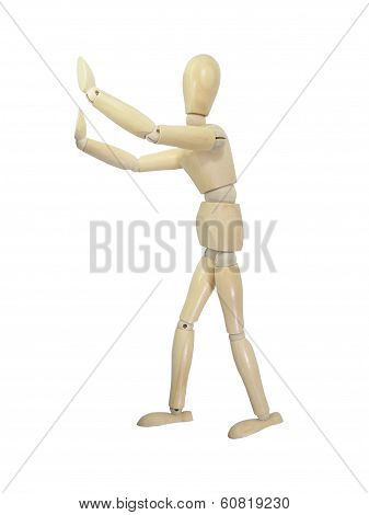 Stop Gesture Wood Puppet