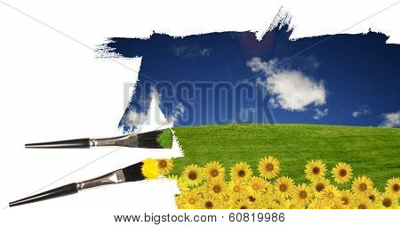 Painting A Summer Landscape With Summer Blue Sky