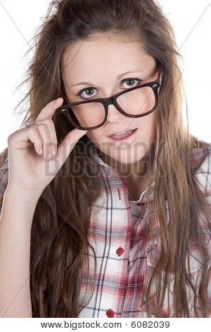 Attractive Brunette Geek Holding Her Glasses