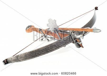 Retro stylized wooden crossbow