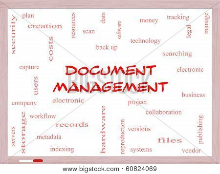 Document Management Word Cloud Concept On A Whiteboard