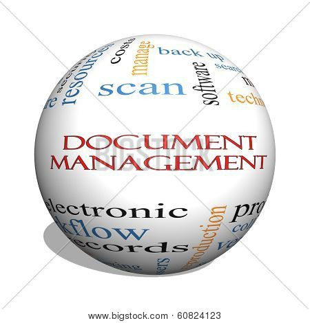 Document Management 3D Sphere Word Cloud Concept