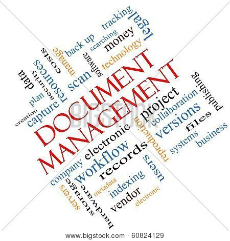 Document Management Word Cloud Concept Angled