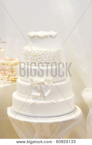 Beautiful Wedding Cake In White With Five Different Levels.
