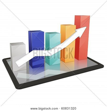 Colorful 3D background statistics template growth chart vector