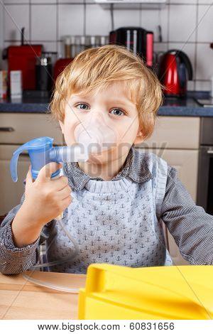 Adorable Toddler  Boy Making Inhalation With Nebulizer