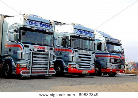 Fleet Of Long Haulage Trucks