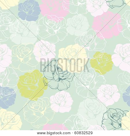 Seamless vector floral pattern with pink, yellow green, white, blue roses on pastel blue background