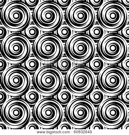 Design Seamless Monochrome Swirl Pattern. Uncolored Geometric Circle Background