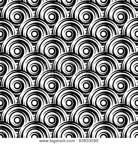 Design Seamless Monochrome Vortex Pattern. Uncolored Geometric Ellipse Diagonal Background