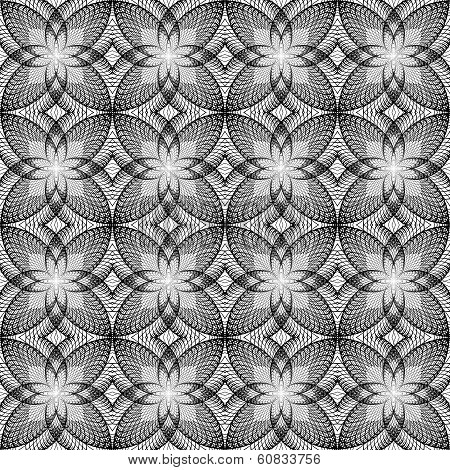 Design Seamless Uncolored Decorated Floral Pattern. Abstract Circle Geometric Textured Background