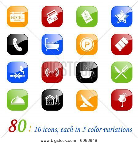 Hotel icons - color series