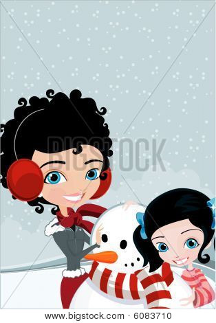 Winter mom and girl