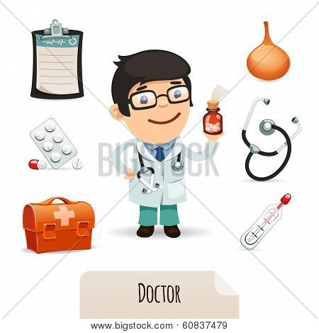 Medical Set With A Male Doctor