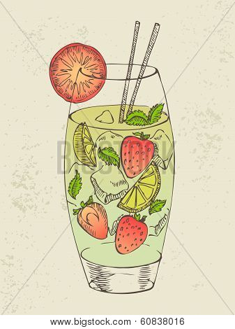 Hand drawn illustration of mojito.