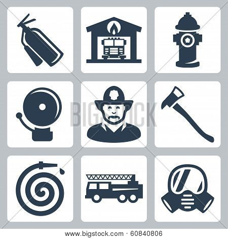 Vector Fire Station Icons Set: Extinguisher, Fire House, Hydrant, Alarm, Fireman, Axe, Hose, Fire Tr