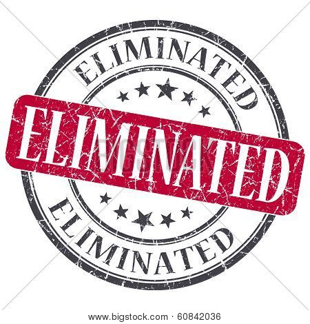 Eliminated Red Grunge Round Stamp On White Background