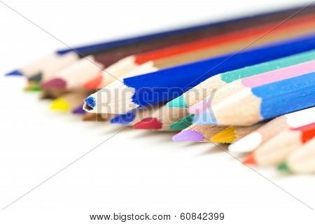 Colored Pencil Crayons With Focus To A Broken One