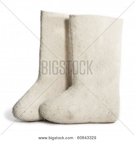 Russian National Footwear Isolated On A White Background