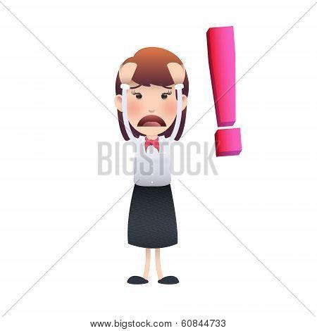 Sad Woman Over White Background. Vector Design