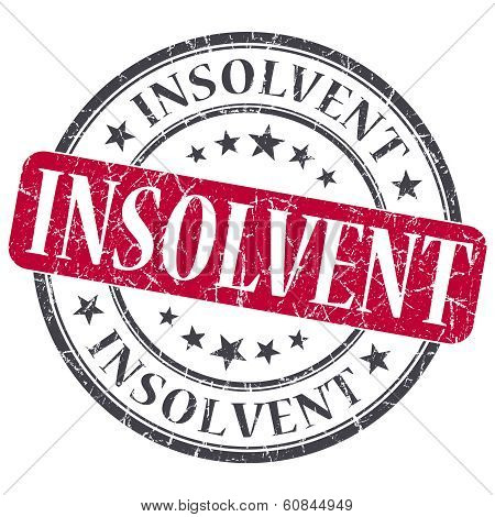 Insolvent Red Grunge Round Stamp On White Background