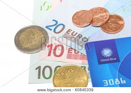 Global Blue Company Tax Free Card With European Money