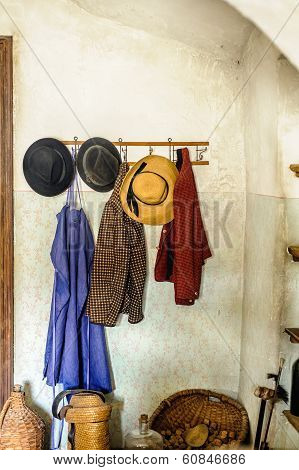 Rural Cloakroom with Clothes