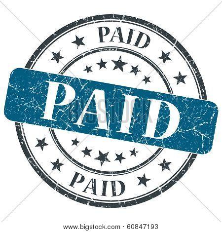 Paid Blue Grunge Round Stamp On White Background