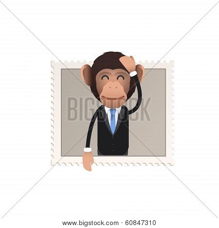 Business Monkey Inside Stamp Over White Background