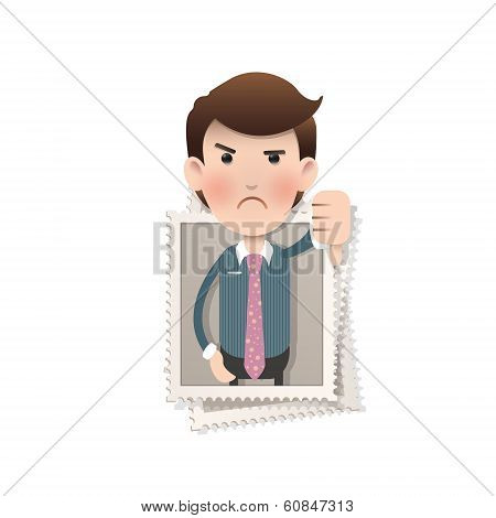 Businessman Inside Stamp Over Isolated White Background