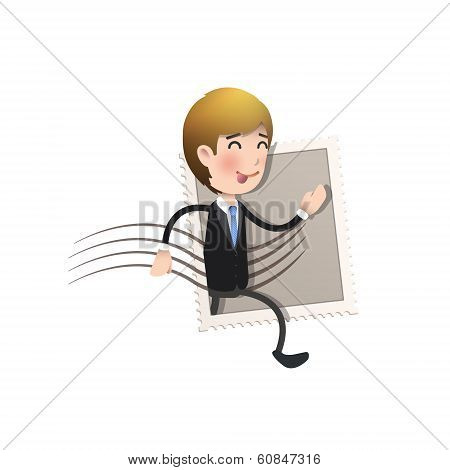 Businessman Running Inside Stamp Over White Background