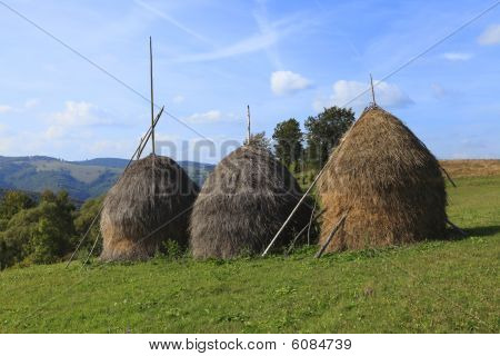 Hayricks In A Mountainous Area