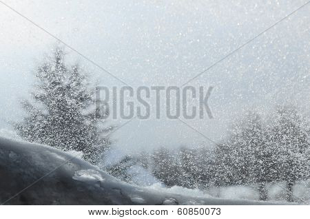 Snowed Window And Blur Landscape