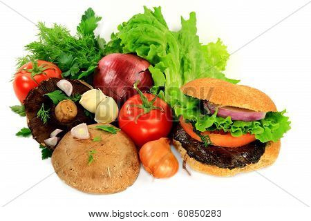 Grilled Mushrooms Burger, Ingredients And Seasonings.