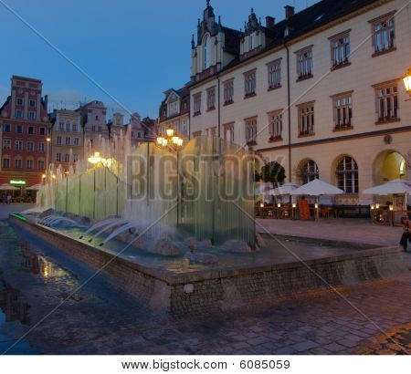 Wroclaw, fountain at the town square. Night shot.