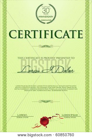 Green certificate or diploma template vector illustration