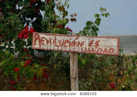 """Wooden Propaganda Sign """"revolution Es Unidad"""" In Cuban Countryside"""