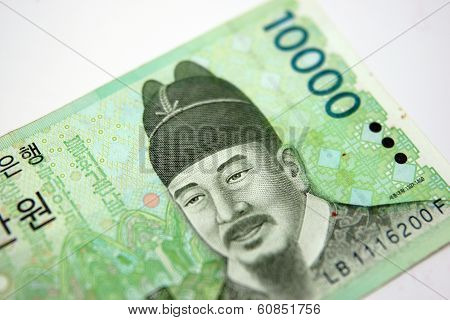 Ten Thousand Korean Won Showing Front Side