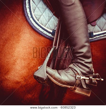 Jockey Riding Boot, Horses Saddle And Stirrup