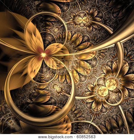 Dark Yellow And Gold Fractal Flower
