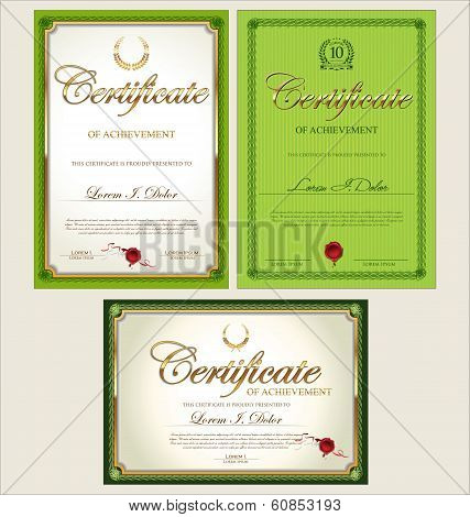 green and gold certificate template vector illustration
