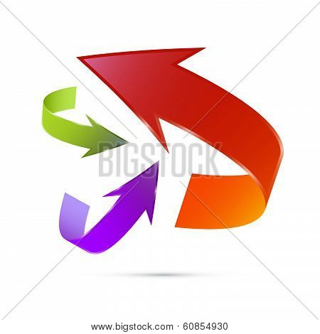 Colorful 3d Vector Arrows Isolated on White Background. Violet, Green, Red.