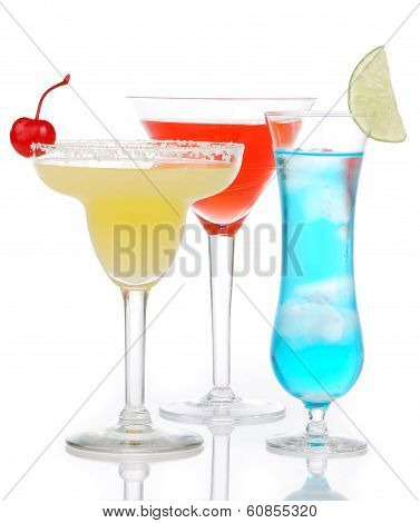 Popular Alcoholic Cocktails Composition. Three Cocktail Drinks
