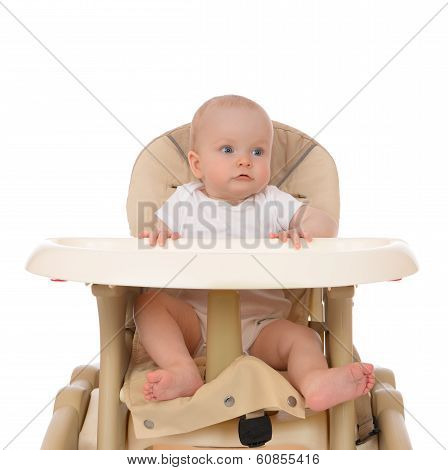 Infant Child Girl Toddler In Diaper Sitting In Baby Chair