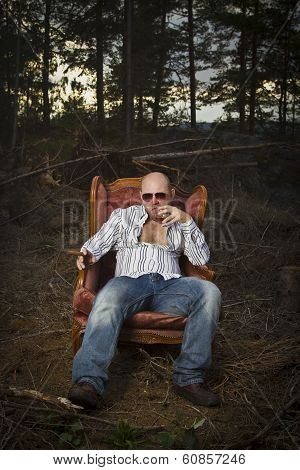 Sleazy Man in a Vintage Chair