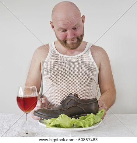 Strange Man Eats Shoes