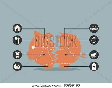 Cuts Of Pork with Broken Piggy Bank Concept