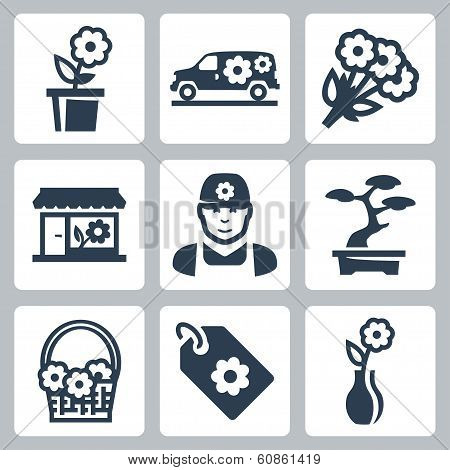 Vector Floral Shop Icons Set