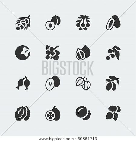 Vector Fruits And Berries Mini Icons Set #3