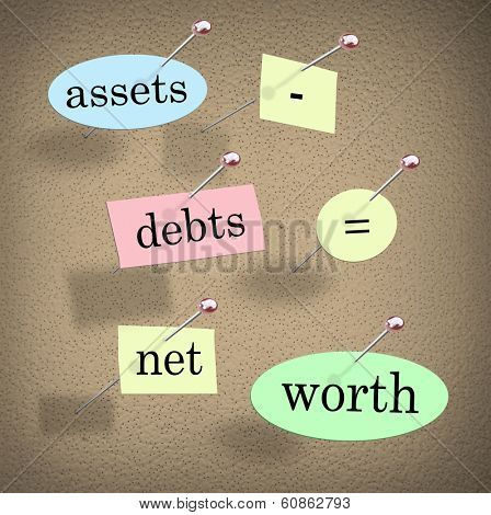 Assets Minus Debts Equals Net Worth Accounting Lesson Value